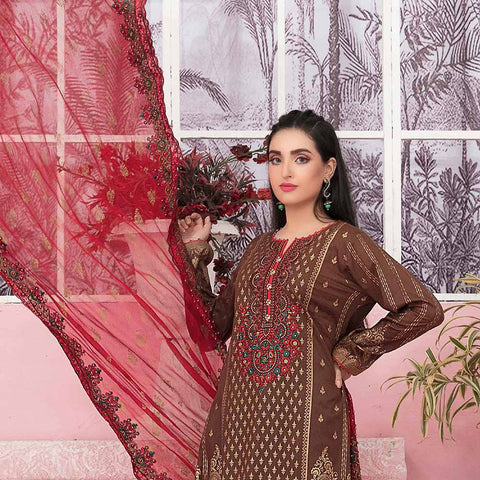 Bedazzled Gold Printed Embroidered 3 Piece Un-Stitched Suit - 8907