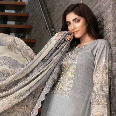 Tawakkal Embroidered Masuri 3 Piece Un-Stitched Suit - 8956