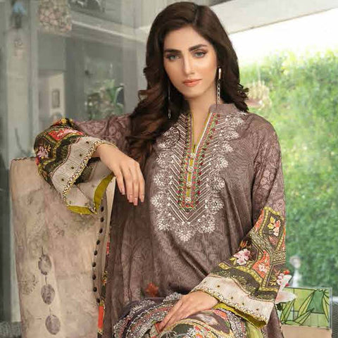 Tawakkal Embroidered Masuri 3 Piece Un-Stitched Suit - 8960