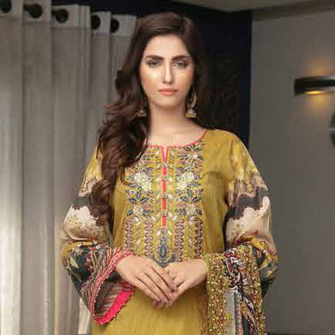 Tawakkal Embroidered Masuri 3 Piece Un-Stitched Suit - 8961