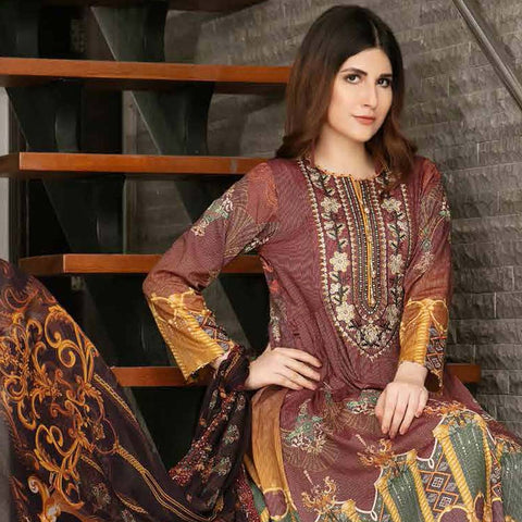 Tawakkal Embroidered Masuri 3 Piece Un-Stitched Suit - 8963