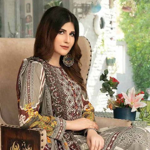 Tawakkal Embroidered Masuri 3 Piece Un-Stitched Suit - 8965