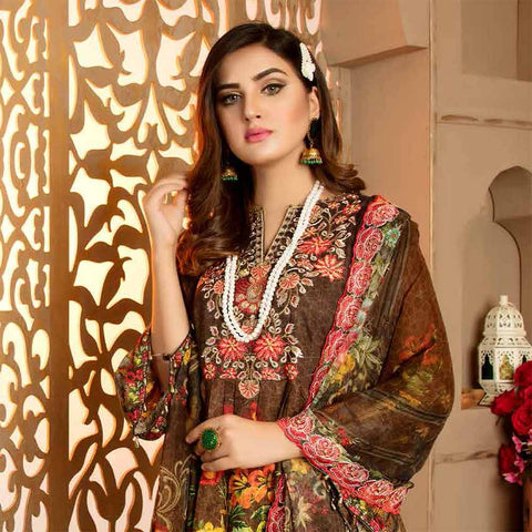 Royal Embroidered Viscose Jacquard 3 Piece Un-Stitched Suit - DA319