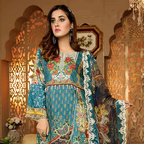 Royal Embroidered Viscose Jacquard 3 Piece Un-Stitched Suit - DA320