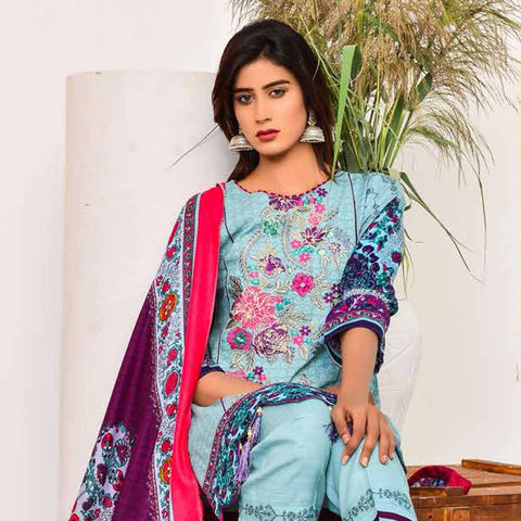 Cool Embroidered Khaddar 3 Piece Un-Stitched Suit - DA405 A