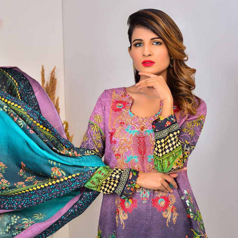 Cool Embroidered Khaddar 3 Piece Un-Stitched Suit - DA408 B