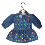 Newborn Girls Embroidered Denim Frock - Dark Blue