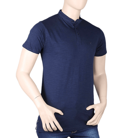 Men's Eminent Sherwani Collar T-Shirt - Navy Blue