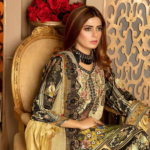 Royal Embroidered Viscose Jacquard 3 Piece Un-Stitched Suit - EKR321