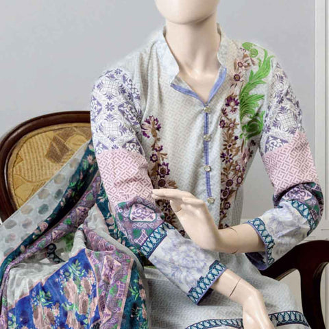 Pristine Embroidered Lawn Suit - FL7B - test-store-for-chase-value