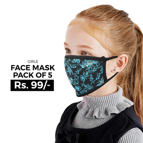 Girls Face Mask Pack of 5 - Multi