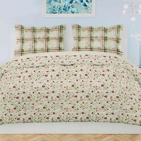 Printed King Size Percale Finish Bed Sheet Set 3 Pcs