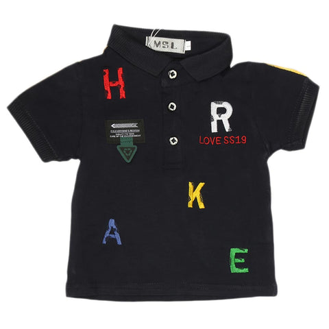 Boys Half Sleeves Polo T-Shirt - Navy Blue