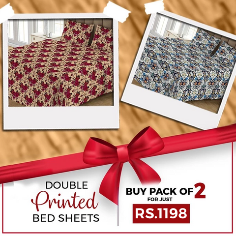 Printed Double Bed Sheet Pack Of - 2