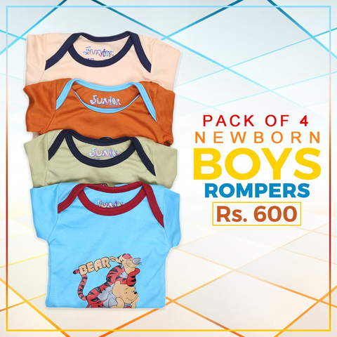Newborn Boys Full Sleeves Printed Romper Pack Of 4