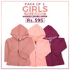 Girls Full Sleeves Hooded Zipper Upper Pack Of 3