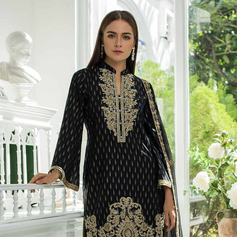 Jaipur Embroidered Jacquard 3 Piece Un-Stitched Suit - ZS01