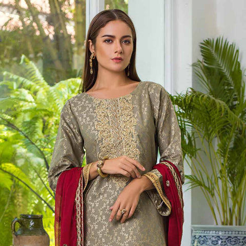 Jaipur Embroidered Jacquard 3 Piece Un-Stitched Suit - ZS04