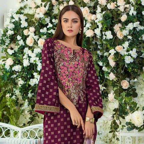 Jaipur Embroidered Jacquard 3 Piece Un-Stitched Suit - ZS05