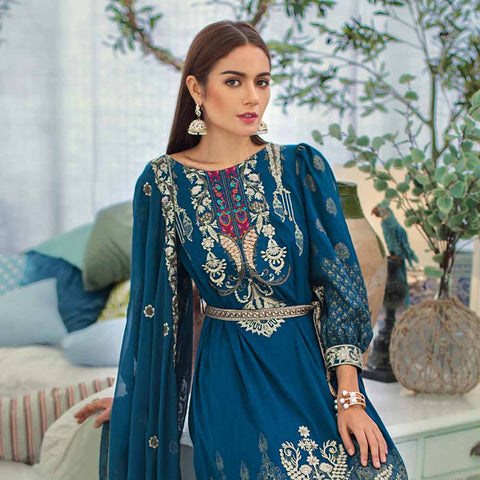 Jaipur Embroidered Jacquard 3 Piece Un-Stitched Suit - ZS06