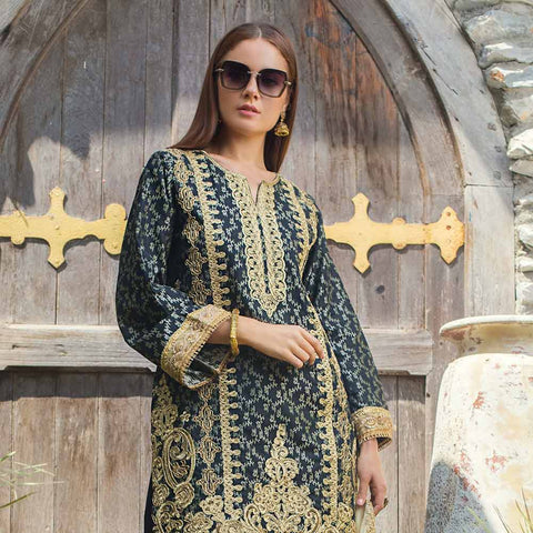 Jaipur Embroidered Jacquard 3 Piece Un-Stitched Suit - ZS07