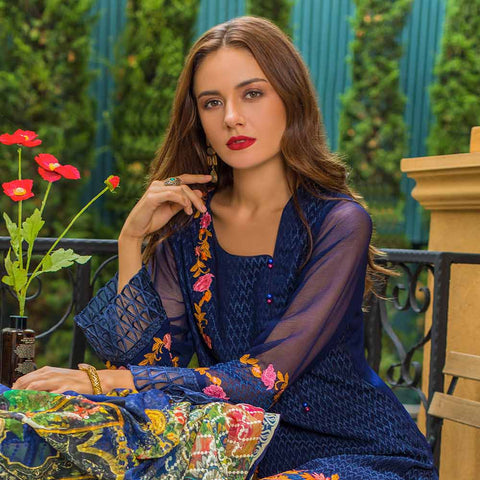 Kalyan Embroidered Chiffon 3 Piece Un-Stitched Suit - 3