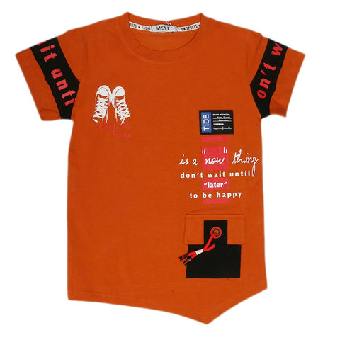 Boys Half Sleeves T-Shirt - Rust