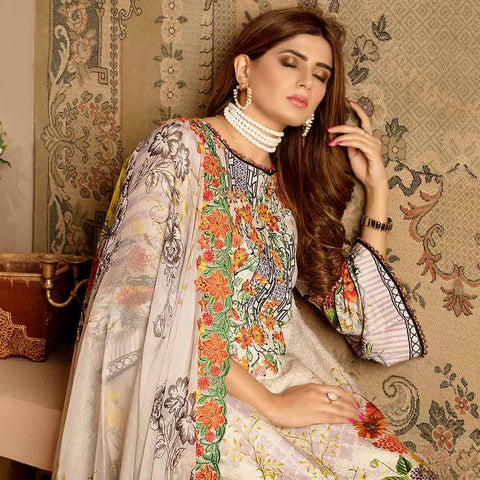 Royal Embroidered Viscose Jacquard 3 Piece Un-Stitched Suit - MS316