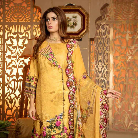Royal Embroidered Viscose Jacquard 3 Piece Un-Stitched Suit - MS317