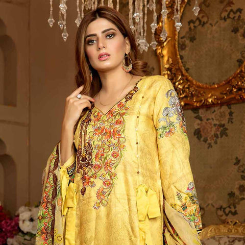 Royal Embroidered Viscose Jacquard 3 Piece Un-Stitched Suit - MS314