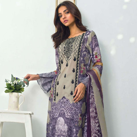 Nisha Bawany Embroidered Lawn 3 Piece Un-Stitched Suit - 2A