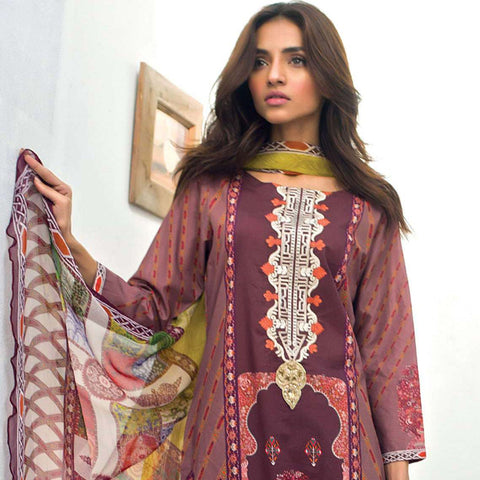 Nisha Bawany Embroidered Lawn 3 Piece Un-Stitched Suit - 3A