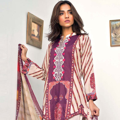 Nisha Bawany Embroidered Lawn 3 Piece Un-Stitched Suit - 3B