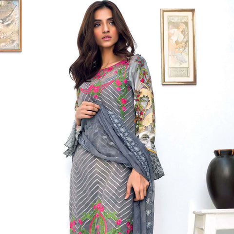 Nisha Bawany Embroidered Lawn 3 Piece Un-Stitched Suit - 6A