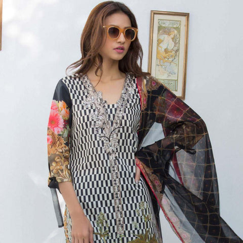 Nisha Bawany Embroidered Lawn 3 Piece Un-Stitched Suit - 7B