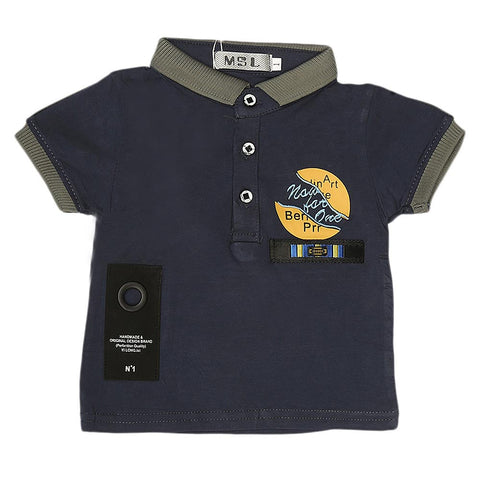 Boys Half Sleeves Polo T-Shirt - Blue