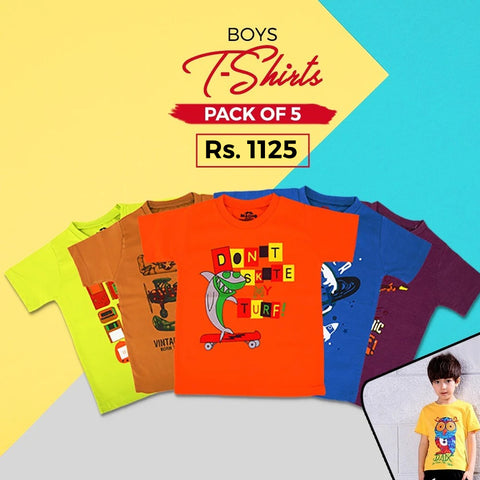 Boys Half Sleeves T-Shirt - Pack Of 5 - Multi