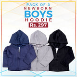 Newborn Boys Full Sleeves Hooded Upper Pack Of 3
