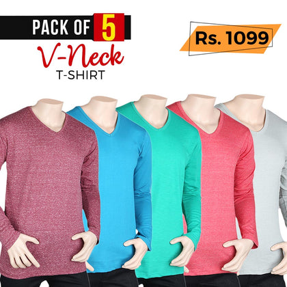 Men's Full Sleeves Plain V-Neck T-Shirt Pack Of 5