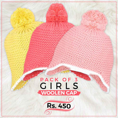 Girls Woolen Cap Pack Of 3