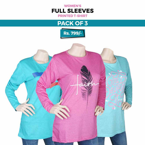 Women's Full Sleeves Printed T-Shirts Pack Of 3 - Multi