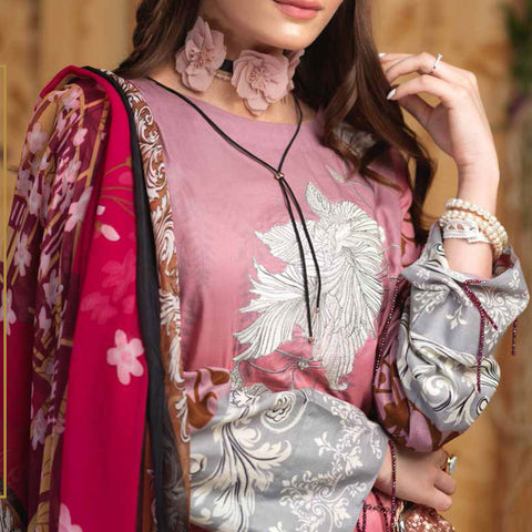 Silkoria Embroidered Lawn 3 Piece Un-Stitched Suit - RC-160 B - test-store-for-chase-value