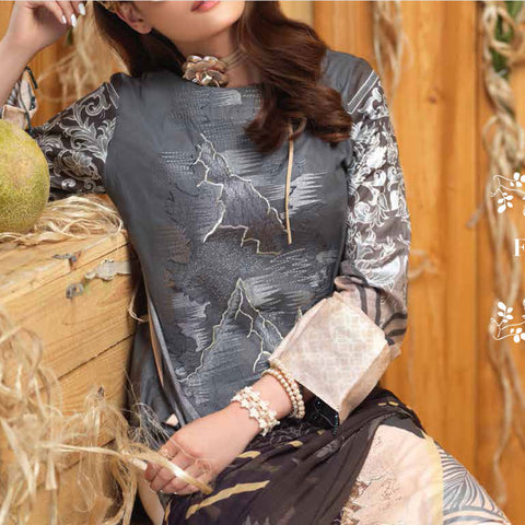 Silkoria Embroidered Lawn 3 Piece Un-Stitched Suit - RC-161 B - test-store-for-chase-value