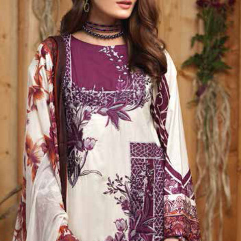 Silkoria Embroidered Lawn 3 Piece Un-Stitched Suit - RC-163 A - test-store-for-chase-value