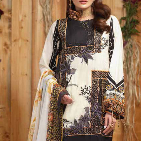 Silkoria Embroidered Lawn 3 Piece Un-Stitched Suit - RC-163 B - test-store-for-chase-value