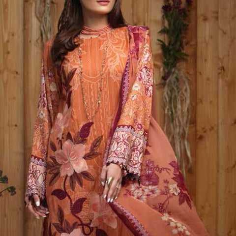 Silkoria Embroidered Lawn 3 Piece Un-Stitched Suit - RC-164 B - test-store-for-chase-value
