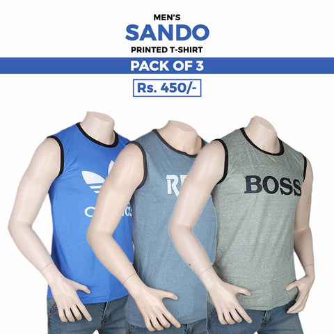 Men's Printed Sando T-Shirts Pack Of 3 - Multi
