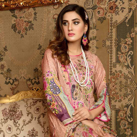 Royal Embroidered Viscose Jacquard 3 Piece Un-Stitched Suit - SR315