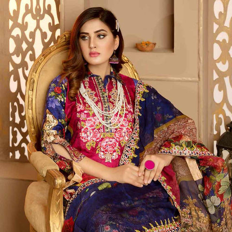 Royal Embroidered Viscose Jacquard 3 Piece Un-Stitched Suit - SR322