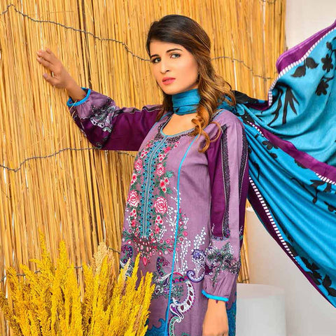 Cool Embroidered Khaddar 3 Piece Un-Stitched Suit - SR406